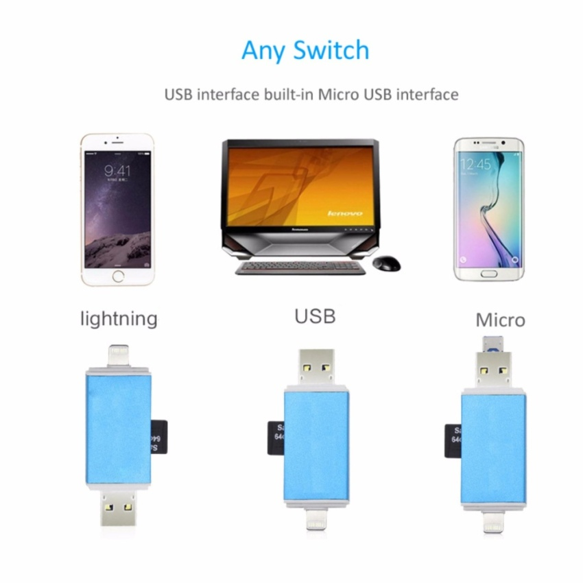 BTOD 3 IN 1 OTG USB Cable TF SD Card Reader IOS Micro .