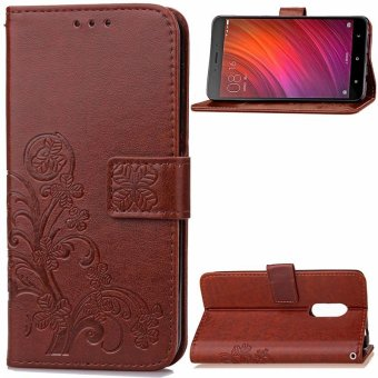 BYT Flower Debossed Leather Flip Cover Case for Xiaomi Redmi Note4X(Brown) - intl
