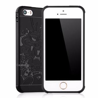 Harga Calandiva Dragon Shockproof Hybrid Case for Iphone 5 5s 5SE 4 Inch Hitam + Gratis