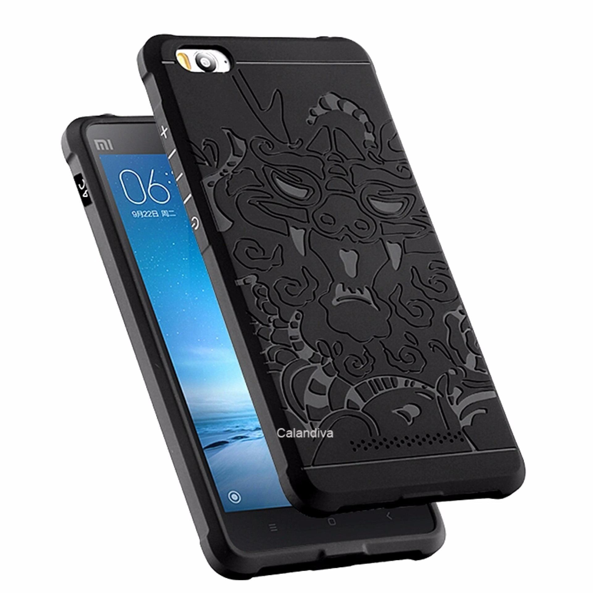 ... Calandiva Dragon Shockproof Hybrid Case for Xiaomi MI4i / MI4c - Hitam + Gratis Rounded Tempered ...