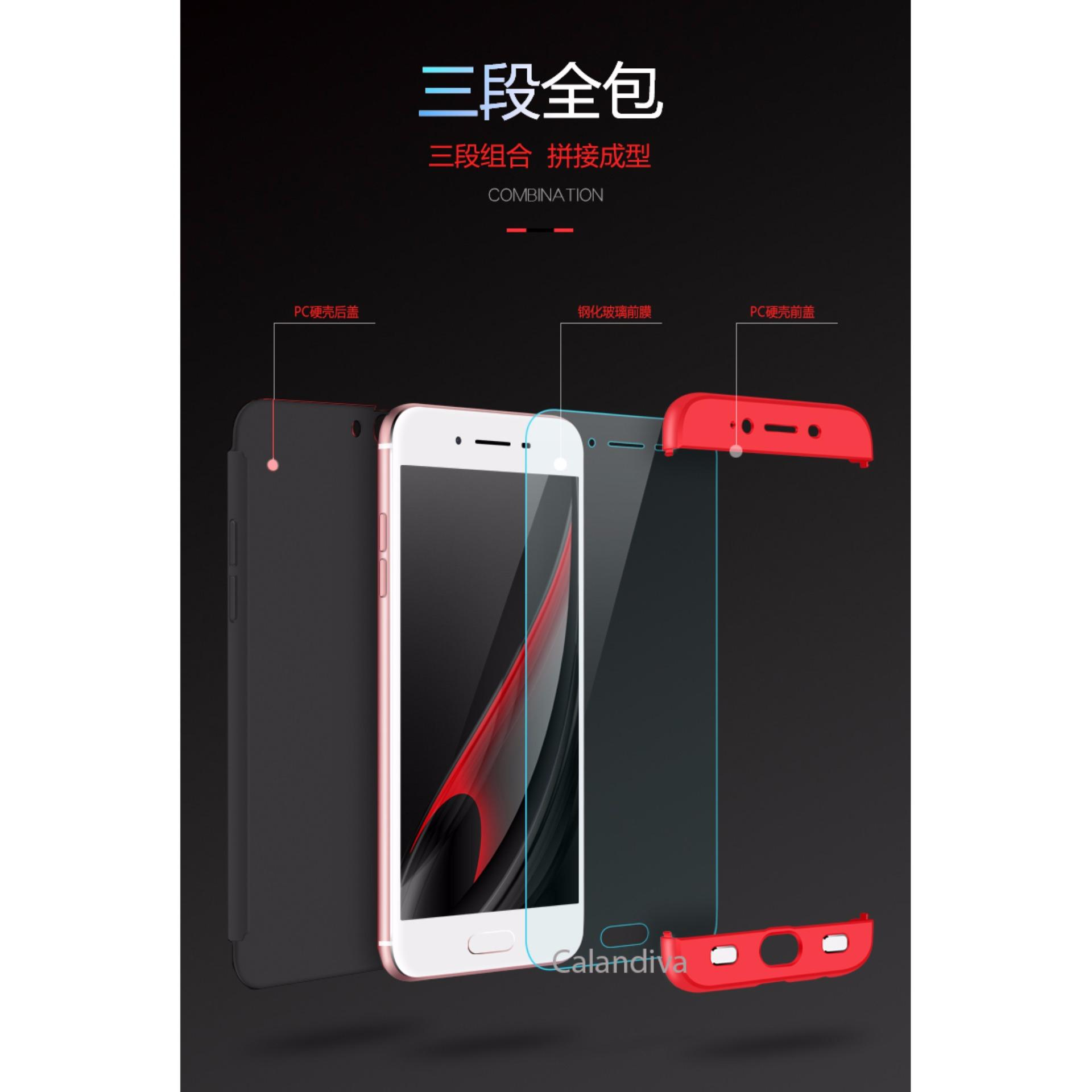Calandiva Premium Front Back 360 Degree Full Protection Case for OPPO A57 Tempered .