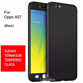 Calandiva Premium Front Back 360 Degree Full Protection Case for OPPO A57 + Tempered Glass