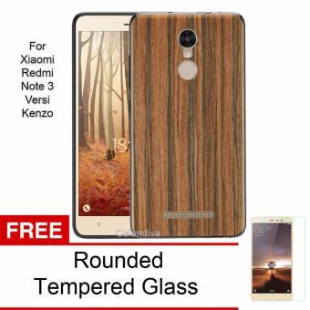 Bandingkan Toko Calandiva Wood Texture Slim Softcase for Xiaomi Redmi Note 3 / Prime / Pro Versi Kenzo - Coklat + Rounded Tempered Glass Perbandingan harga