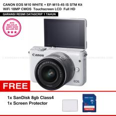CANON EOS M10 WHITE + EF-M15-45 IS STM Kit Wifi 18MP CMOS Touchscreen Lcd Full Hd (Datascrip) + Sandisk 8gb + Screen Protector