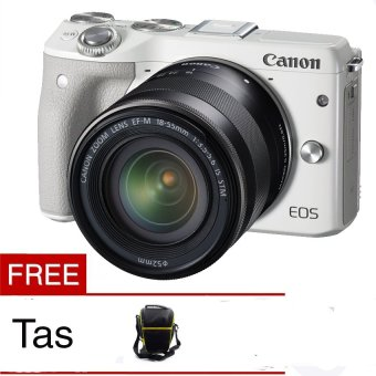 Canon EOS M3 24.2 MP Digital Camera with EF-M 15-45mm F3.5-5.6 IS STM Lens White Free Tas Camera