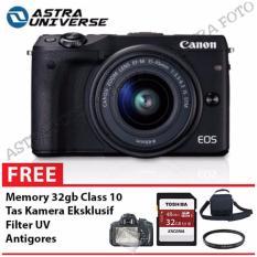 Canon EOS M3 Kit 15-45mm Paket Komplit 32gb Black-Hitam