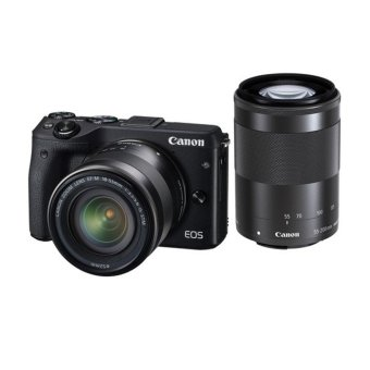 Canon EOS M3 Kit EF-M18-55 + EF-M55-200 IS STM - Hitam