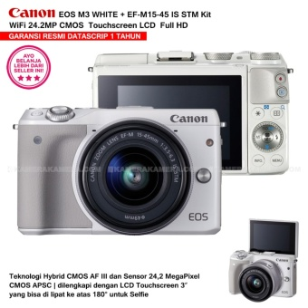 CANON EOS M3 WHITE (EF-M15-45 IS STM) Wifi 18MP CMOS Touchscreen Lcd Full Hd (Resmi Datascrip)