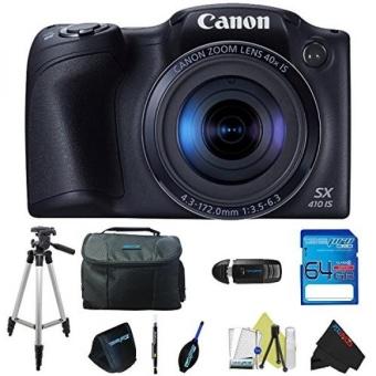 Canon PowerShot SX410 IS (Black) + Pixi-Advanced Accessory Bundle - intl