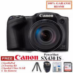 Canon PowerShot SX430 IS - WiFi 20MP 45x Optical Zoom (Resmi) + SanDisk Ultra 16gb + Cleaning Kit + Tas Kamera (RESMI)