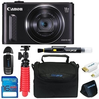 Canon PowerShot SX610 HS with 18x Optical Zoom and Built-In Wi-Fi + 16GB Memory Card + Pixi-Basic Accessory Bundle - intl