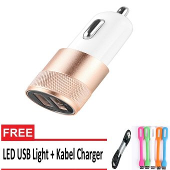 Car Charger Dual USB - Gold + Kabel Charger + Lampu USB Flexible