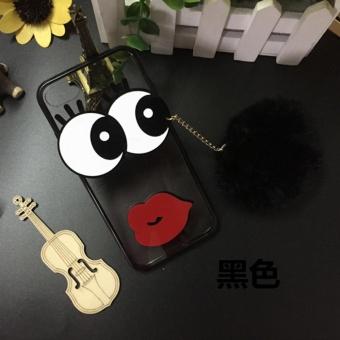 DISKON Cartoon cute mirror Case For OPPO A57 (black+Hair ball eyes) -intl TERMURAH
