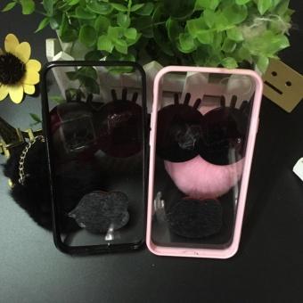 Cartoon cute mirror Case For OPPO A57 (black+Hair ball eyes) -intl