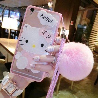 REVIEW Cartoon cute mirror Case For Oppo F3 Plus(pink+Hair ball KT) – intl TERBAIK