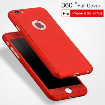 Case 360 Full Body Hardcase Depan Belakang Free Tempered Glass iPhone 7 Plus ( Merah)