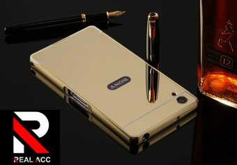Case Aluminium Bumper Mirror for Sony Xperia M4 Aqua - Gold + Free Tempered Glass