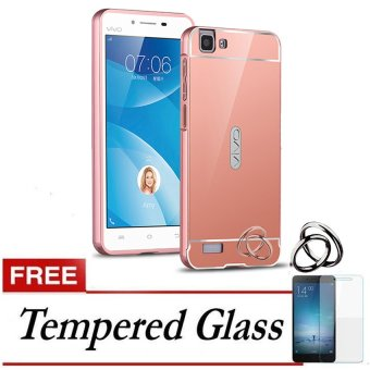 Case Aluminium Bumper Mirror for VIVO Y35 - Rose gold + Free Tempered Glass