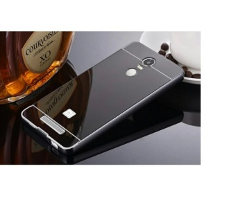 Case Aluminium Bumper with Mirror Back Cover for Xiaomi Redmi Note3 / Note 3 Pro - Black