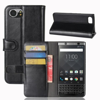 Case For BlackBerry KEYone / DTEK70 / Mercury Leather + TPU CaseCard Slots Cover (Black) - intl