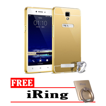 Case For Oppo Neo 3 / R831K Bumper Slide Mirror - Gold + Free iRing