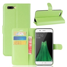Case for OPPO R11 Plus Litchi Grain PU Leather Wallet Case with Card Slots and Flip Stand Function Magnetic Closure Cover (Green) - intl