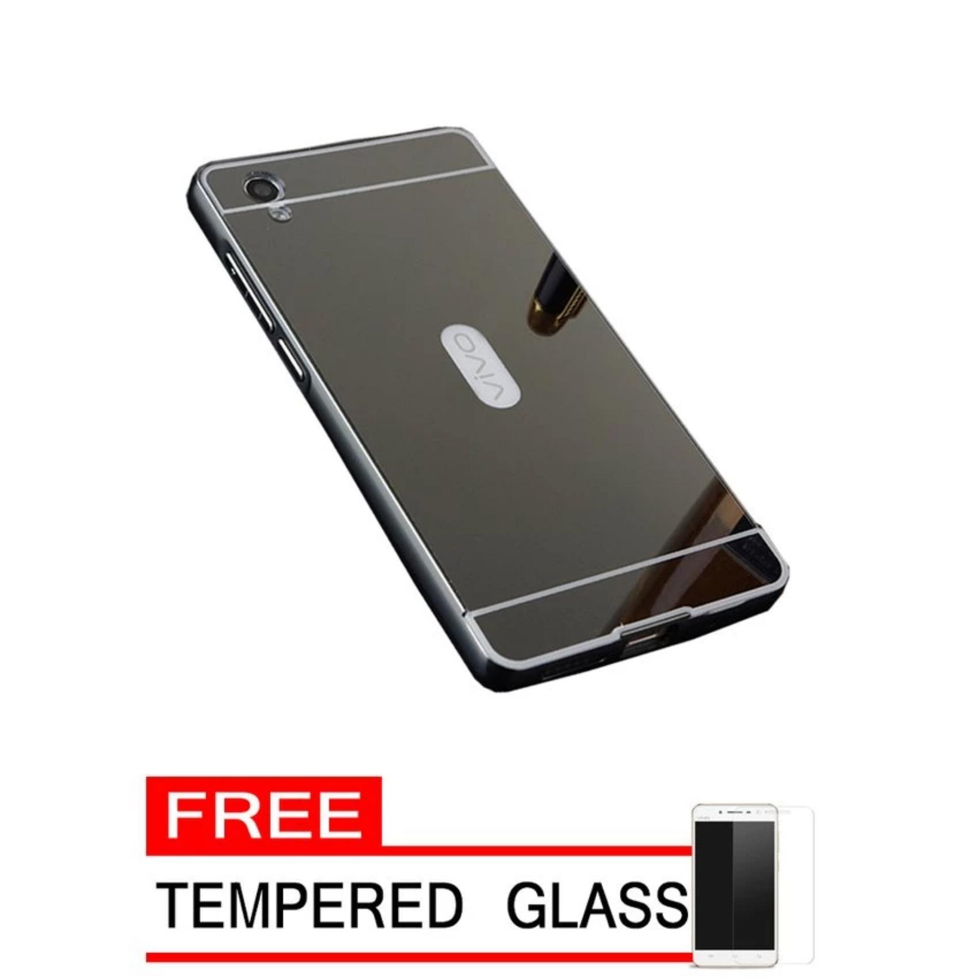 Case For Vivo Y15 Bumper Slide Mirror - Black + Free Tempered Glass .