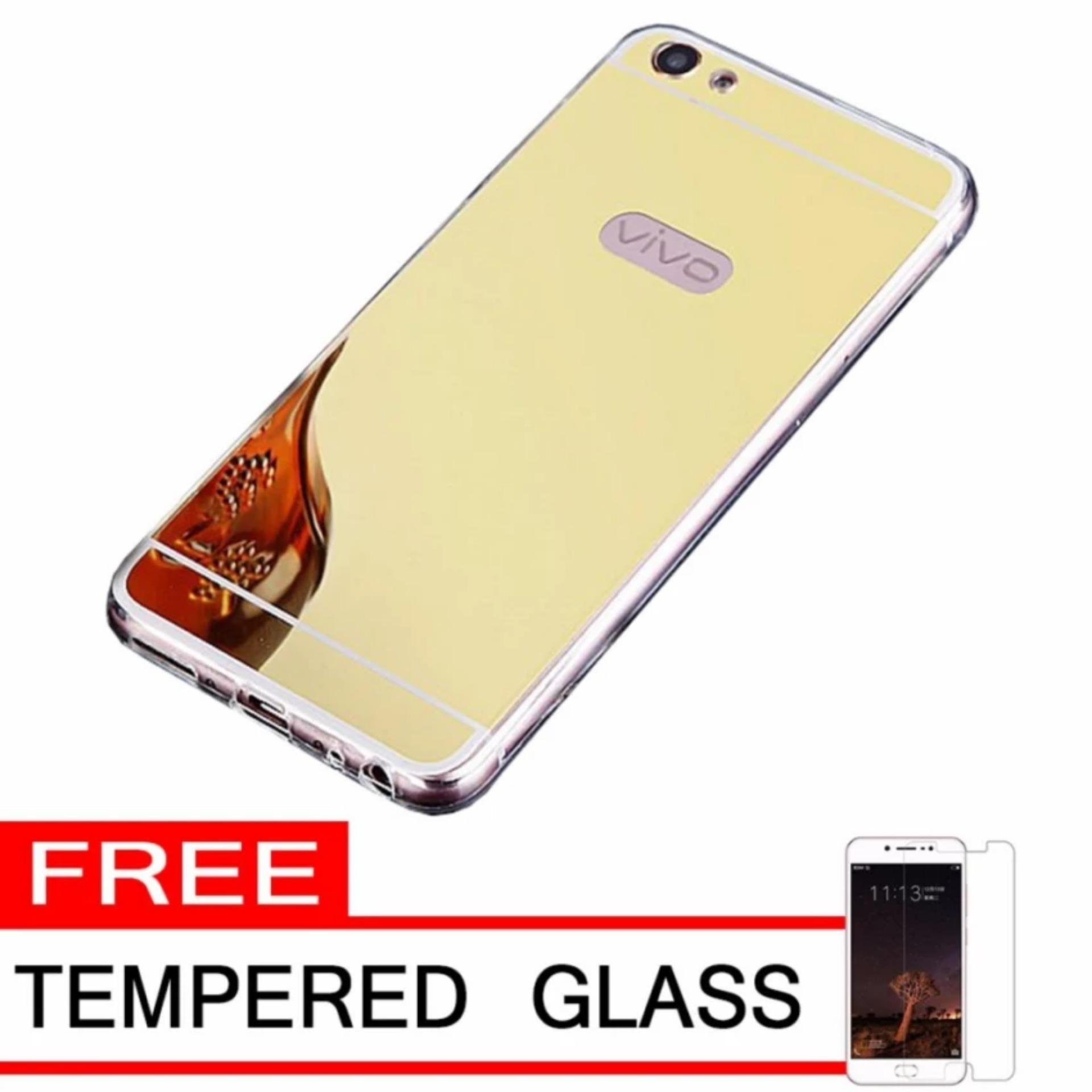 Flash Sale Case Metal for Vivo V5 (Y67) Aluminium Bumper With Mirror BackdoorSlide - Gold + Free Tempered Glass