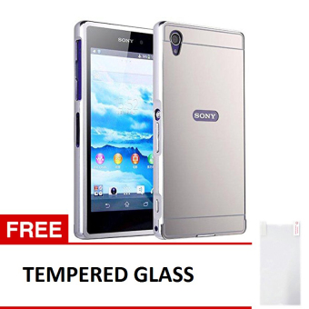 Case Sony Xperia Z2 Alumunium Bumper With Mirror Backdoor Slide-Silver + Gratis Tempered Glass