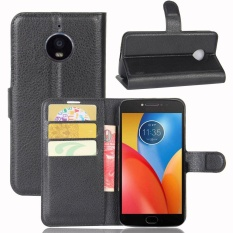 Case untuk Motorola MOTO E4 Plus Litchi Grain Leather Wallet Case (Hitam)-Intl