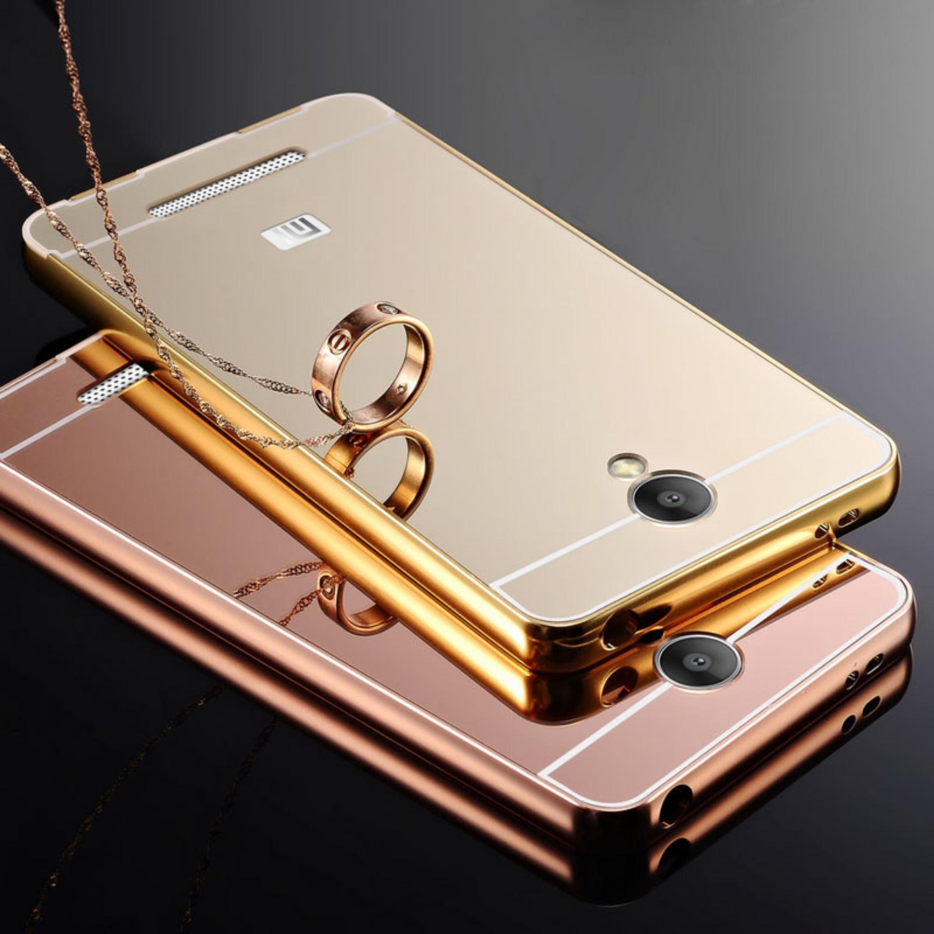 Peonia Glare Mirror Backcase With Metal Aluminium Bumper For Xiaomi Case Redmi 4 Prime Back Sliding Gold