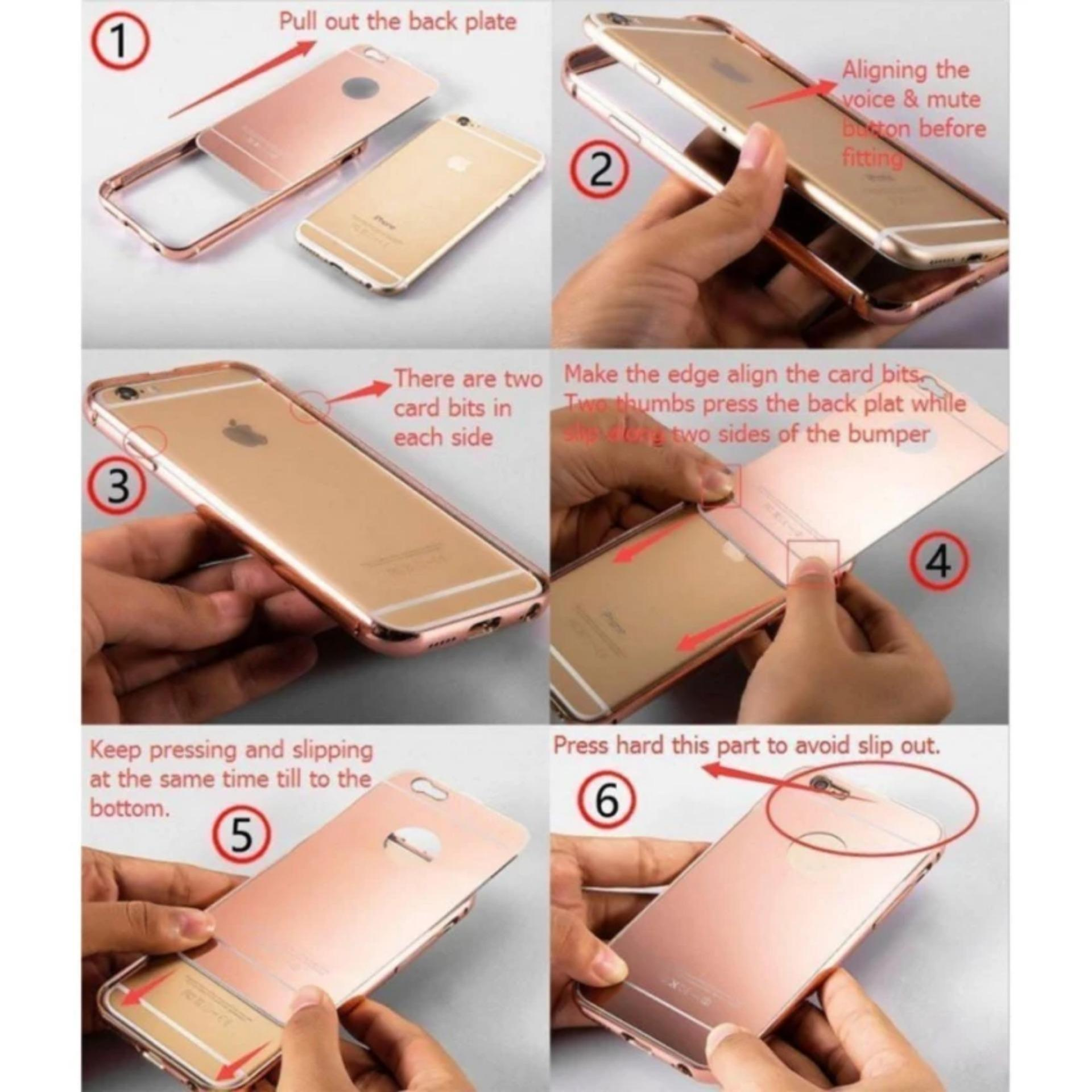 Bandingkan Simpan Case Xiaomi Redmi Note 4 Bumper Mirror Slide Aluminium Hard Back Casing Rose Gold Temperedglass