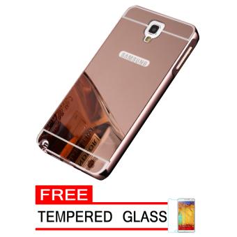 Casing Metal Aluminium Case Samsung Galaxy Note 3 Neo - Rose Gold +Free Tempered Glass