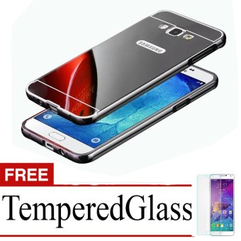 Casing Metal Bumper Mirror for Samsung Galaxy J5 – Black + Free Tempere Glass