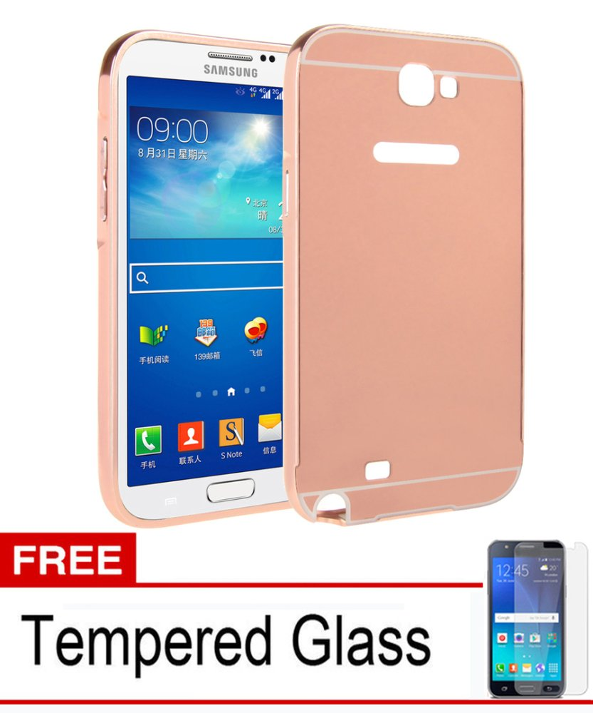 Casing Metal Bumper Mirror for Samsung Galaxy Note 2 Rose Gold Free tempered Glass Lazada Indonesia
