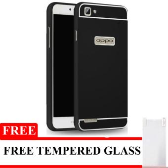 Casing Protector Aluminium Bumper with Sliding Case For Oppo Neo 7 - Hitam + Gratis Tempered