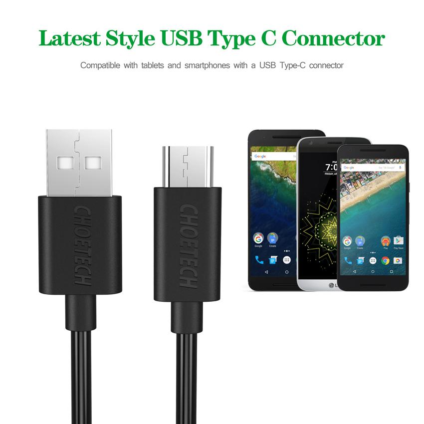 CHOETECH Qualcomm cepat biaya 3.0 cepat USB Charger dinding denganType C untuk kabel .