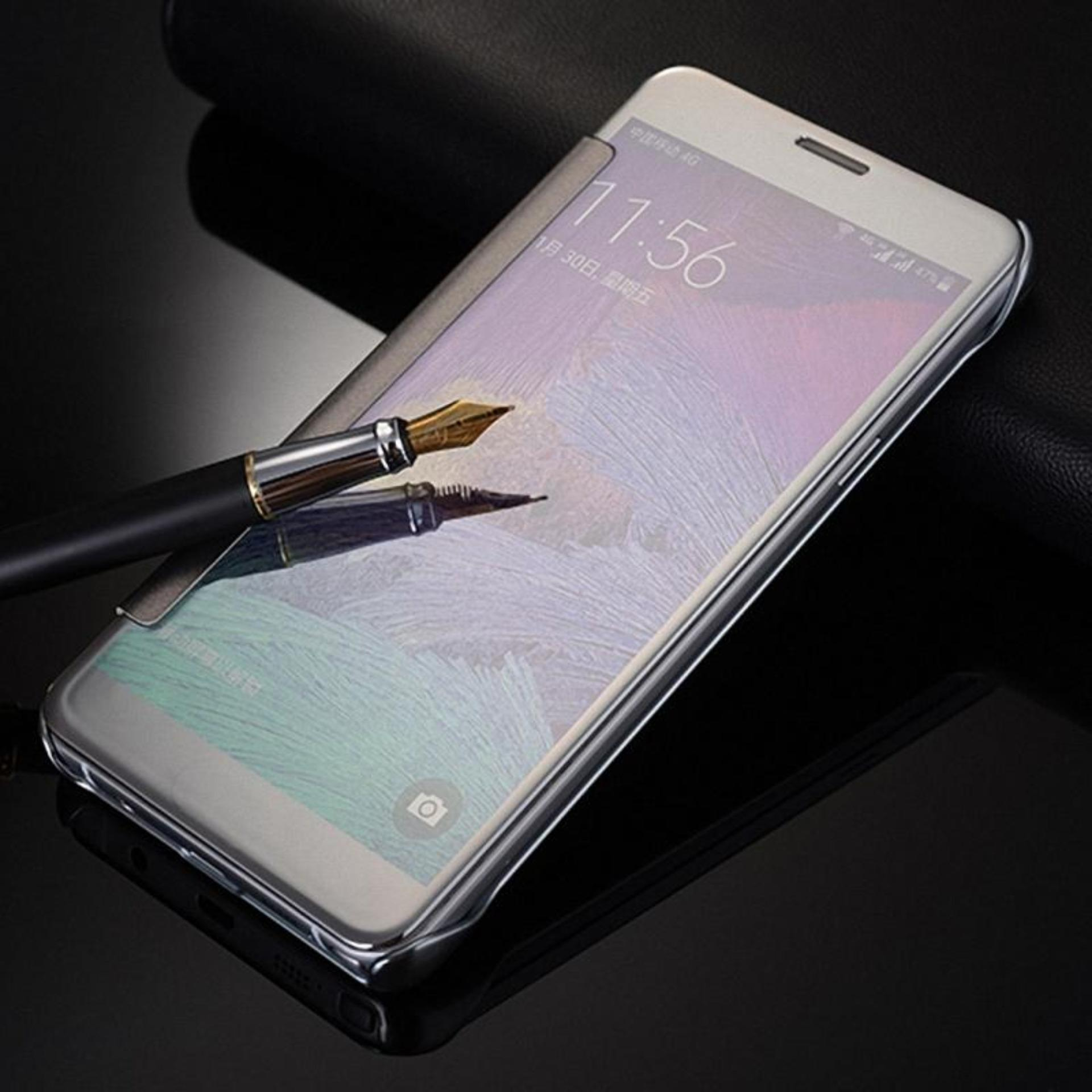 Clear View Flip Cover Samsung Note 4 Casing Hardcase Sarung HP Case
