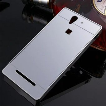 Elaike For Sony Xperia C3 2 in 1 Luxury Aluminum Metal Mirror PC Phone Cover Case (Silver) - intl