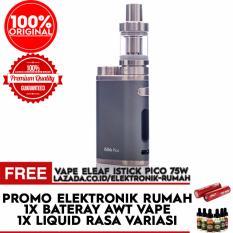 Eleaf iStick Pico Starter Kit 75W Rokok Elektrik Vapor Vape -  Gratis Baterai / Battery AWT hitam 3.400 MAH  + Liquid Variasi rasa
