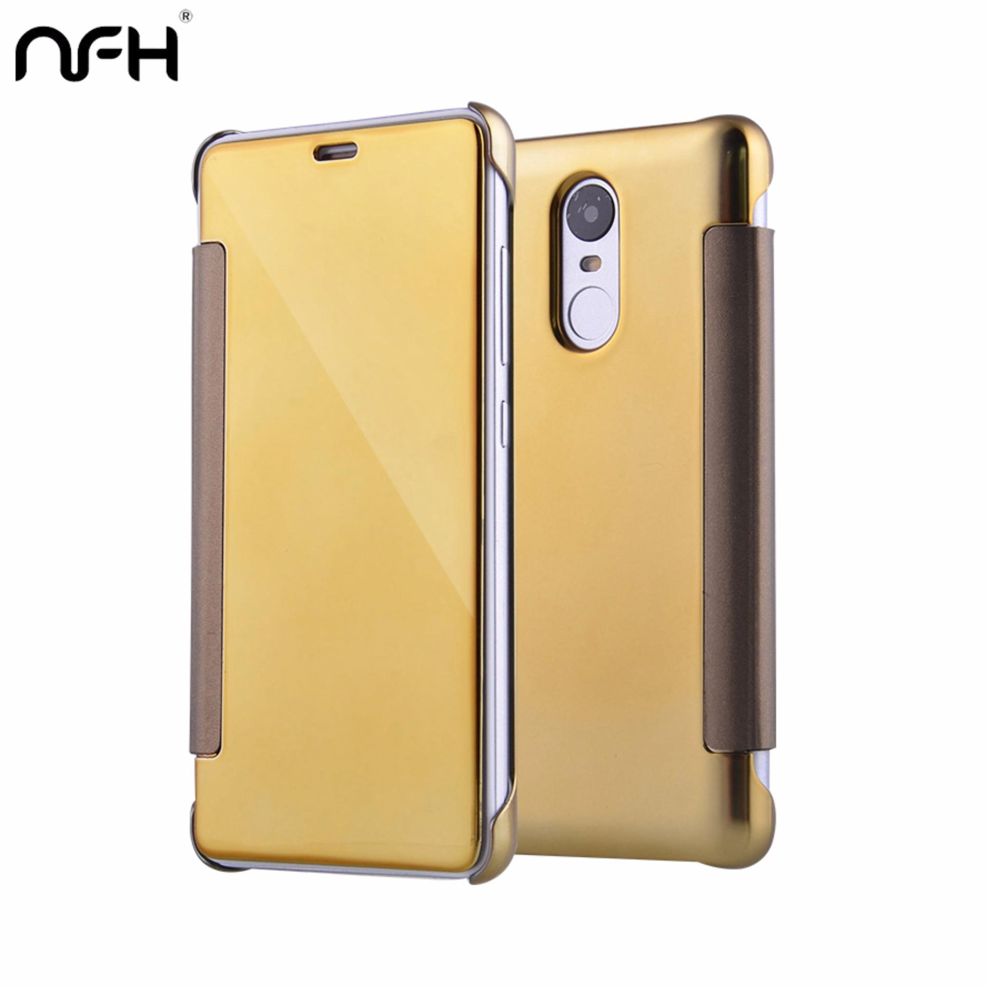 Electroplating Mirror View Clear Transparent Flip Stand Cover CaseFor Xiaomi Redmi Note 3 .