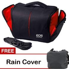 EOS Canon Tas Kamera 2 Lensa - Hitam + Gratis Rain Cover
