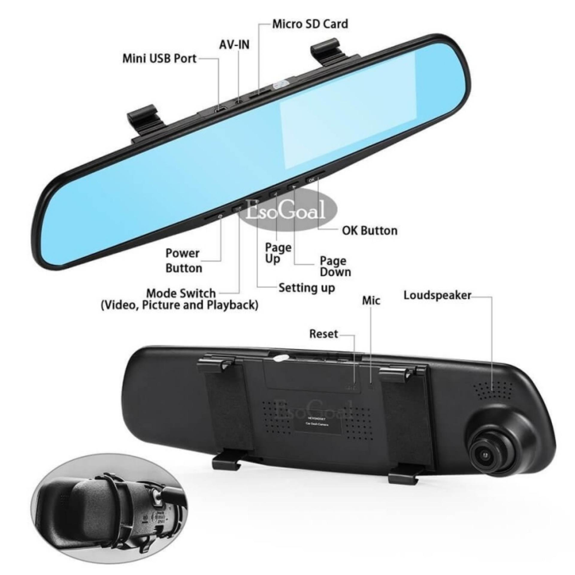 EsoGoal Dual lensa Dash Cam spion mobil kamera 4.3 Inch TFT LCD layar 1080 P mengemudi Video Recorder dengan kembali Up kamera, G - Sensor, Loop rekaman, Parking Mode, Motion Detection, Night Vision (TF card dikecualikan)