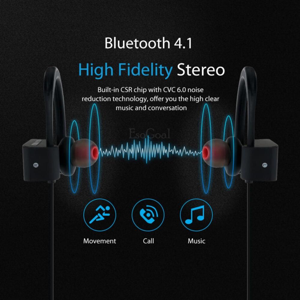 ... EsoGoal Headphone Bluetooth EsoGoal Olahraga Nirkabel Kuncup telinga Gym Headset Menjalankan Earphone Latihan Sweatproof Earbuds ...