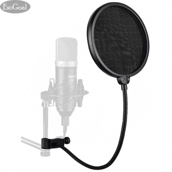 Harga EsoGoal Studio Microphone Mic Round Shape Wind Pop Filter Mask Shield with Stand Clip Recording Vocals Home (Black) - intl