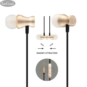 EsoGoal Wired Earphones In-Ear Magnetic Earbuds Stereo Noise Cancelling Headphones Sports Headset with Mic (Gold) - intl