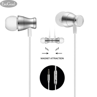 EsoGoal Wired Earphones In-Ear Magnetic Headphones Stereo Noise Cancelling Earbuds Sports Headset with Mic (Silver) - intl