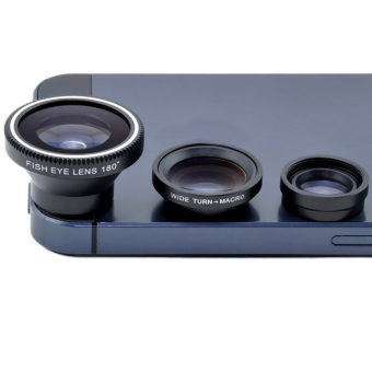 Fancyqube 3 In 1 Wide-angle Micro Macro Blue Purple Fish Eye Lens Detachable For Smartphone Camera Black