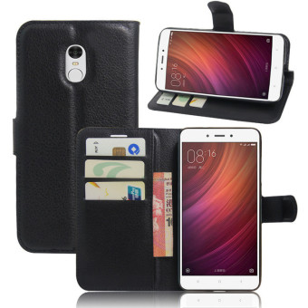 Flip Leather Wallet Case Cover For Xiaomi Redmi Note 4 (Black) -intl