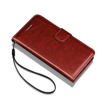 Flip Wallet Leather Case for Samsung Galaxy Note3 Note 3 N9000 WithCard Slot Photo Frame Crazy Horse Stand Cover Classic Phone Bags-(Brown) - intl